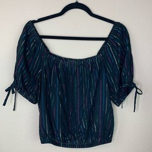Express Black Rainbow Metallic Top 🌈